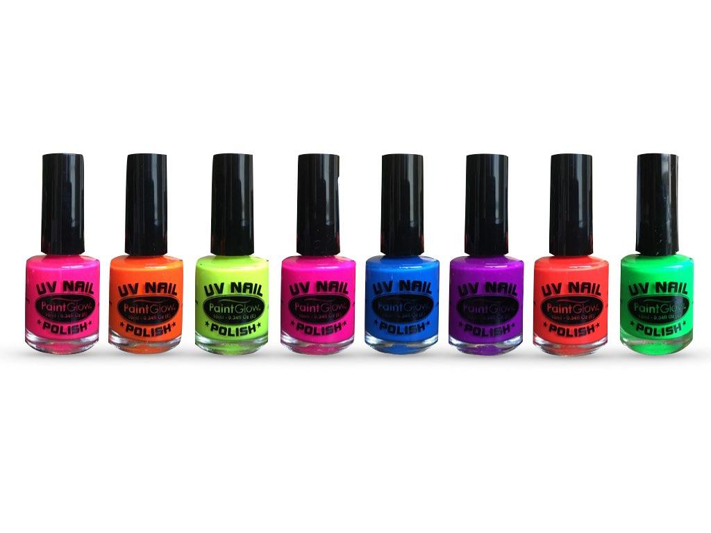 uv-neglelak i 8 forskellige neon-farver